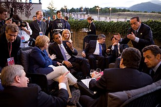 Group of Eight - G8 leaders confer during the 2009 summit in L'Aquila (Abruzzo, Italy).