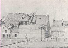 Rückansicht des Geburtshauses von Caspar David Friedrich 1844 (Quelle: Wikimedia)