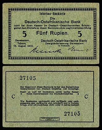 German East African rupie - Image: GEA 32 Deutsch Ostafrikanische Bank 5 Rupien (1915)