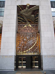 The front entrance to the GE Building in New York City, adapted from Blake's work