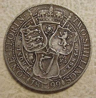 Florin (British coin) - 1899 florin designed by Sir Edward Poynter