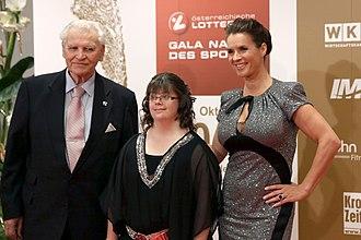 Katarina Witt - Katarina Witt (right) with Special Olympics athlete Teresa Breuer, Sportsman of the Year, Austria 2013
