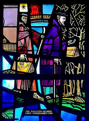 Demetrius Augustine Gallitzin - Stained-glass depiction of Father Demetrius Gallitzin and Father Peter Helbron, St. Patrick Church, Canonsburg, Pennsylvania