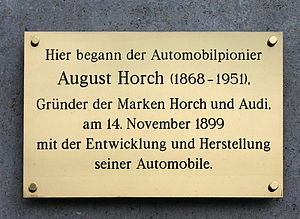August Horch - Memorial plate in Cologne, Germany.