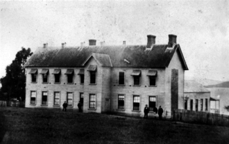 """General Assembly House - The General Assembly House in Auckland in 1861, known as the """"Shedifice"""""""