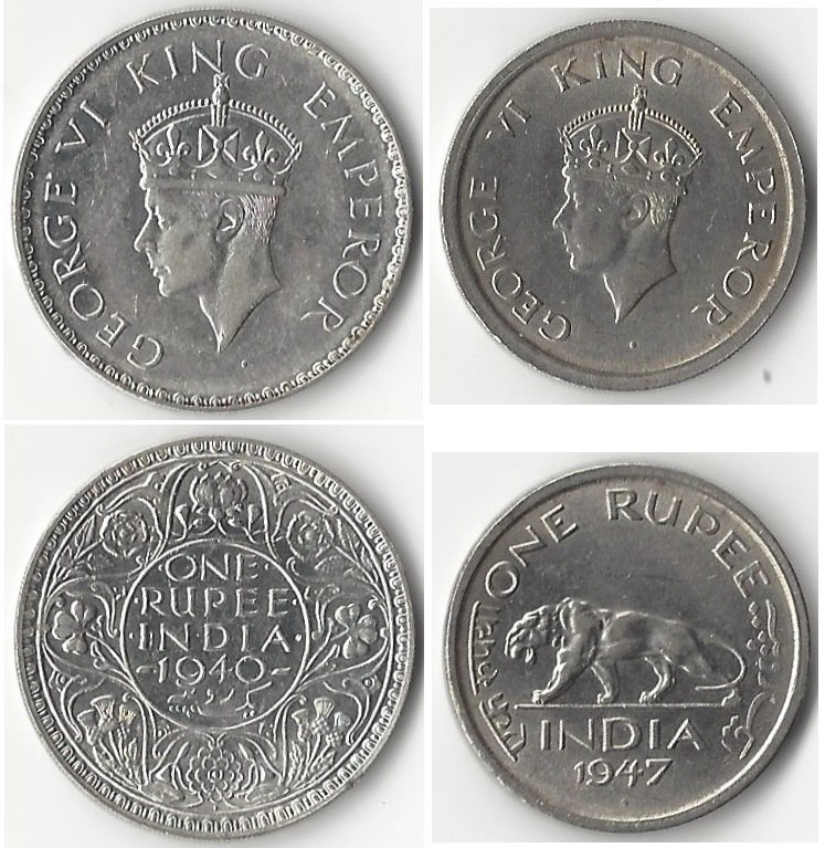 One rupee coins showing George VI, King-Emperor, 1940 (left) and just before India's independence in 1947 (right).