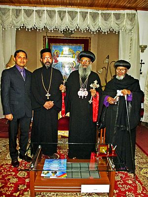 Abune Mathias - OCP Secretary George Alexander with Patriarch Abune Mathias of Ethiopia, Abune Thimotheos (Dean of Holy Trinity University College)and Fr. Dr. Jossi Jacob (IMOC Delegate and Faculty at Holy Trinity College)