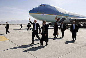 Bagram Airfield - U.S. President George W. Bush and wife Laura Bush arrived to Bagram Airfield in Air Force One on March 1, 2006.