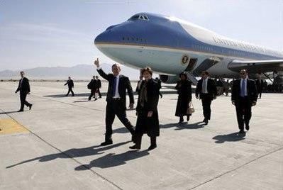 George and Laura Bush at Bagram Air Base in Afghanistan