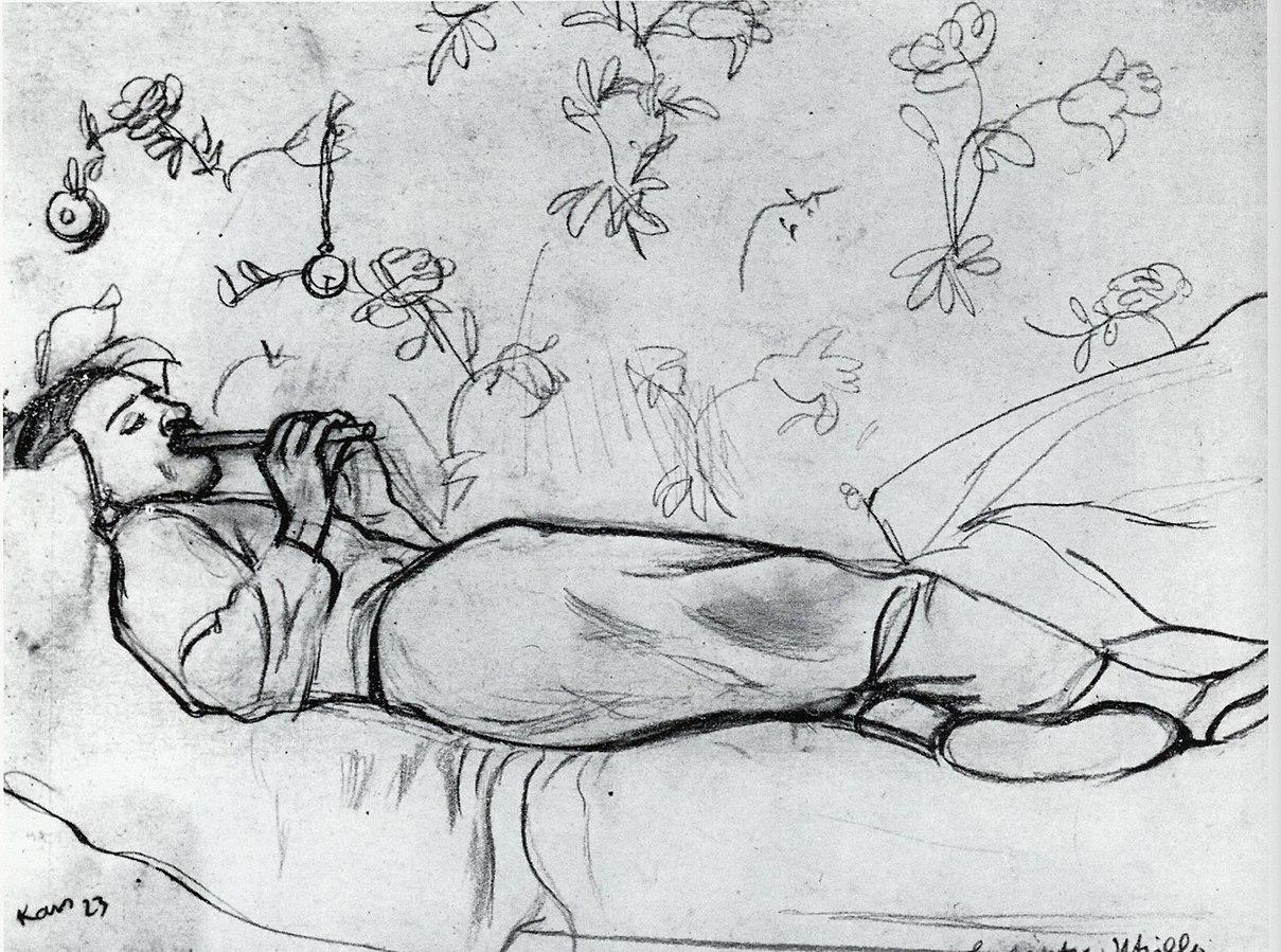 Ležící Utrillo hrající na flétnu