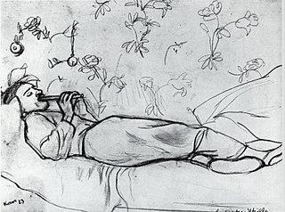 Utrillo allongé jouant de la flûte