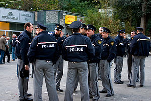 Law enforcement in Georgia (country) - Georgian policemen in Tbilisi in November 2007.