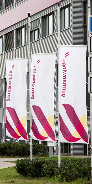 Germanwings Flight 9525 - Germanwings headquarters in Cologne: flags at half-mast following loss of Flight 9525