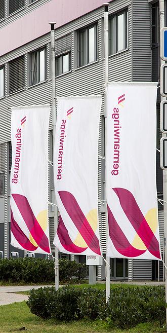 Germanwings Flight 9525 - Germanwings headquarters in Cologne: flags at half-mast following loss of Flight 9525