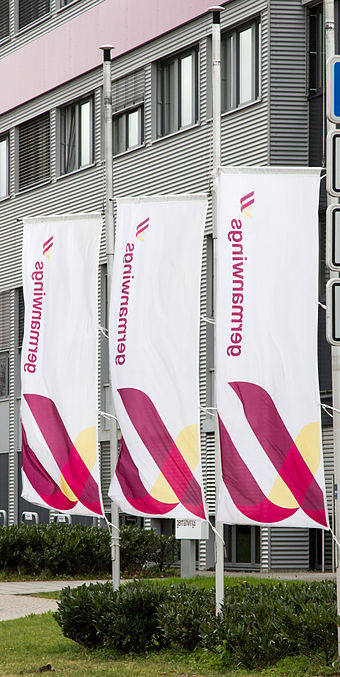 Germanwings headquarters in Cologne: flags at half mast following loss of Flight 9525 Germanwings Headquarter 2015 4.jpg