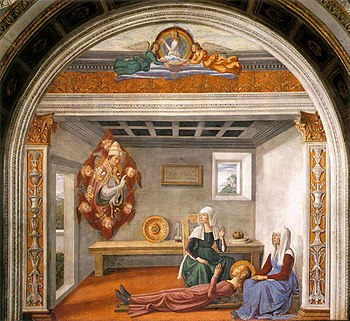 A painting shows St Fina as a blonde-haired teenage girl in a pink dress, lying on a wooden board in a small plain room. and attended by two women. Hovering before her is a vision of a pope, supported by flying cherubs.