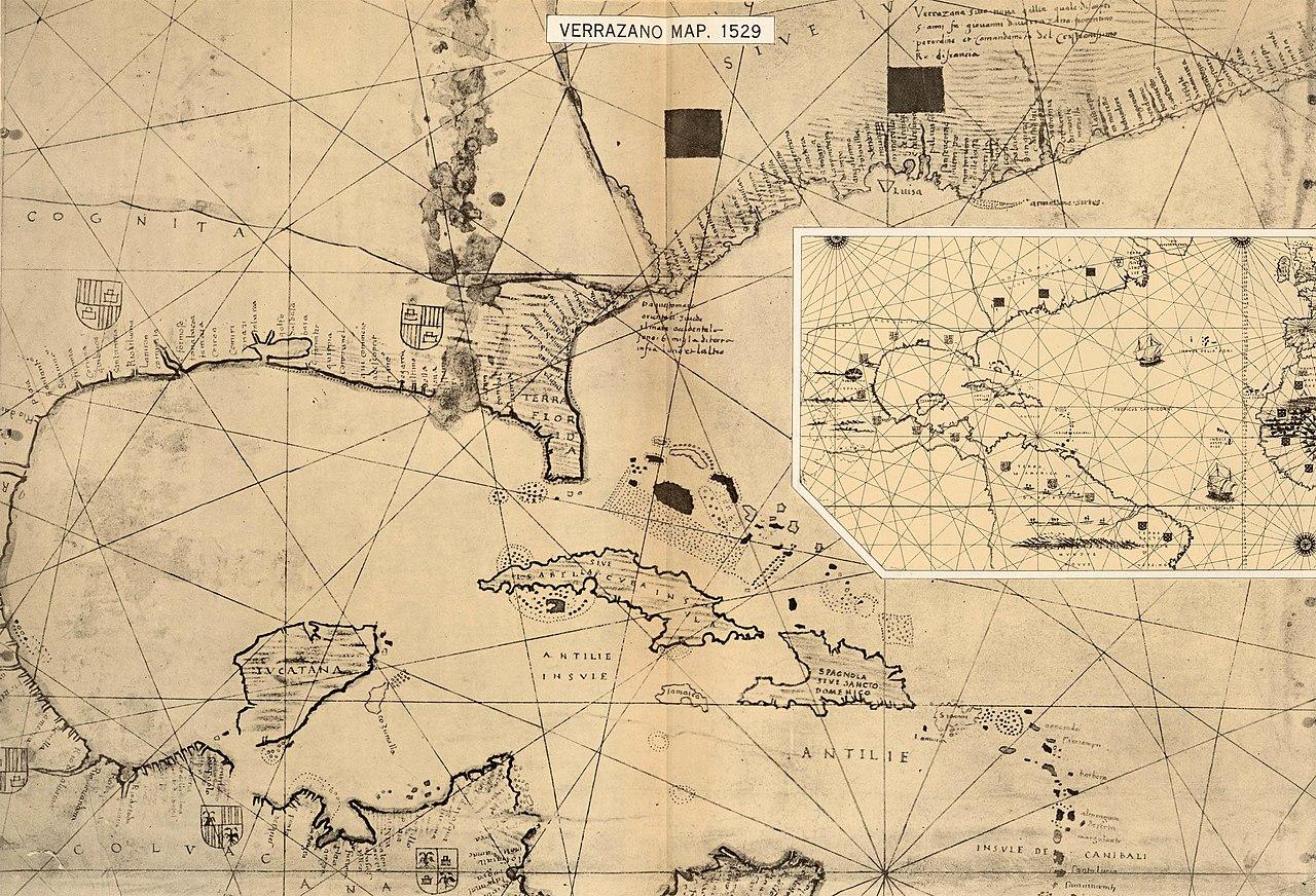 File:Girolamo de Verrazzano\'s 1529 map of the East Coast of ...