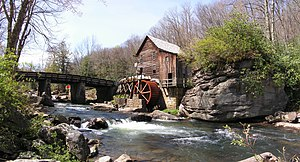 The Glade Creek Grist Mill, an iconic watermill in Babcock State Park, WV, USA