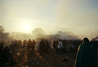 Glastonbury Festival - Techno music is played on a sound-system at dawn, Glastonbury 2000