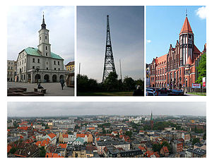 Left to right: Town Hall, Radio station Gliwice wooden tower, Post Office, General view