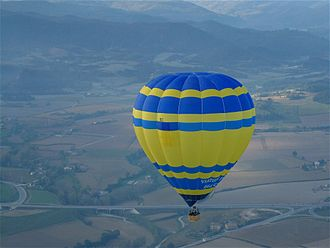 Plain of Vic - A hot air balloon over the Plain of Vic.