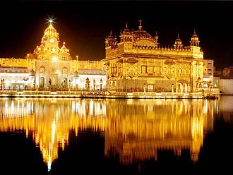 Outline of Sikhism - Harmandir Sahib (the Golden Temple) at night, in Amritsar, India