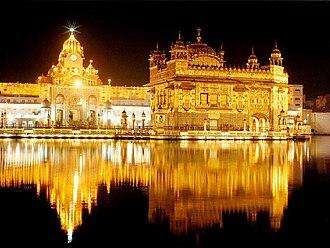 Wideview of the Harimandir Sahib (Golden Temple) night lit