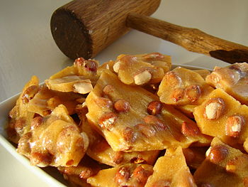 Golden peanut brittle ready to enjoy.