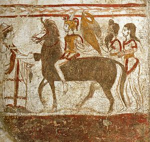 Lucanians - A mounted Lucani warrior, fresco from a tomb of Paestum, Italy, c. 360 BC