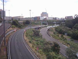 Grafton Gully - Grafton Gully as seen looking southwards from Grafton Bridge, with several motorways visible.