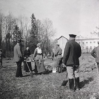 Execution of the Romanov family - Nicholas II, Tatiana and Anastasia Hendrikova working on a kitchen garden at Alexander Palace in May 1917. The family was allowed no such indulgences at the Ipatiev House.