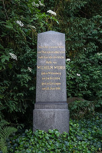 Wilhelm Eduard Weber - Wilhelm Eduard Weber's grave in Göttingen