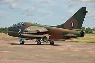 Hellenic Air Force - HAF TA-7C Corsair II departs from the Royal International Air Tattoo, England (2014)