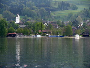 Greifensee - Greifensee as seen from Greifensee town, Maur and Pfannenstiel in the background