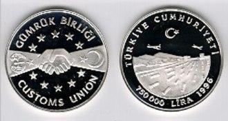 European Union–Turkey Customs Union - Commemorative Turkish coin for EU-Turkey customs union
