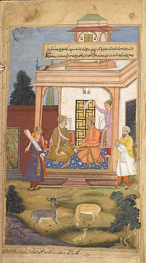 Dhritarashtra - Dhitrastra say yudhisthira about his renounce , Artist Hajji , from razmnama.