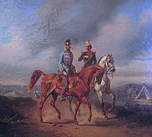 General der Kavallerie Schlik mit seinem Adjutanten (Gemälde von Joseph Heicke, Heeresgeschichtliches Museum). (Quelle: Wikimedia)