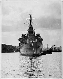 HMS Liverpool at Valetta harbour in 1945.