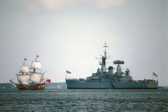 Maryland Dove - The Maryland Dove and HMS Ariadne (F72) off Yorktown in October 1981 during the Siege of Yorktown Bicentennial celebrations.
