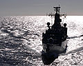 HMS Campbeltown silhouetted at sea enroute to Gibraltar in 2007. MOD 45147699.jpg