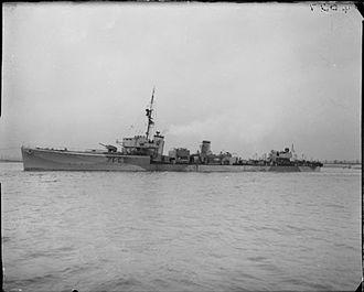 S-class destroyer (1917) - HMS Saladin underway serving as an escort vessel during the Second World War