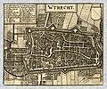 HUA-212025-Plattegrond van de stad Utrecht met directe omgeving met stratenplan wegen en watergangen en gestileerde weergave van de bebouwing en grondgebruik in .jpg