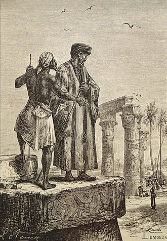 Ibn Battuta - Book illustration by Léon Benett published in 1878 showing Ibn Baṭṭūṭah (right) in Egypt.