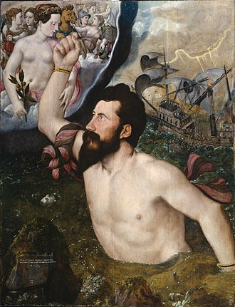 Hans Eworth - Allegorical portrait of Sir John Luttrell, 1550, oil on panel
