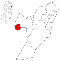 Map highlighting Harrison's location within Hudson County. Inset: Hudson County's location within New Jersey.