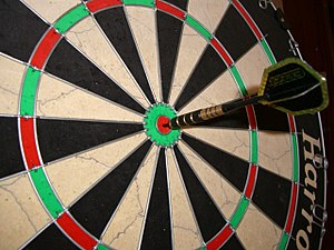 Bullseye on a standard Harrows Bristle Board. ...