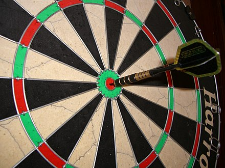 A dart in the inner bullseye