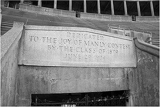 Harvard Stadium - Image: Harvard Stadium Dedication Plaque 1903