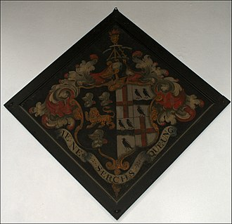 Funerary hatchment - Funerary hatchment at Grendon parish church, showing in the dexter half the arms of Compton, Marquess of Northampton