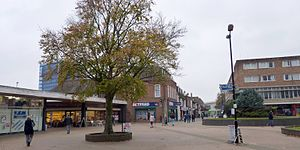 Hatfield, Hertfordshire - Hatfield New Town centre, looking west along its axis.